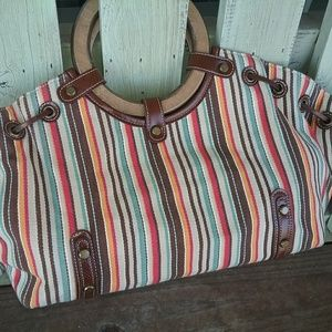 Handbags - Fabric Striped Satchel Purse with Wood Handles
